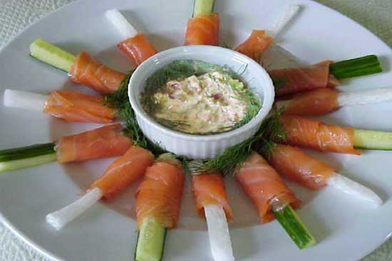 Smoked salmon wrapped in cucumber sticks