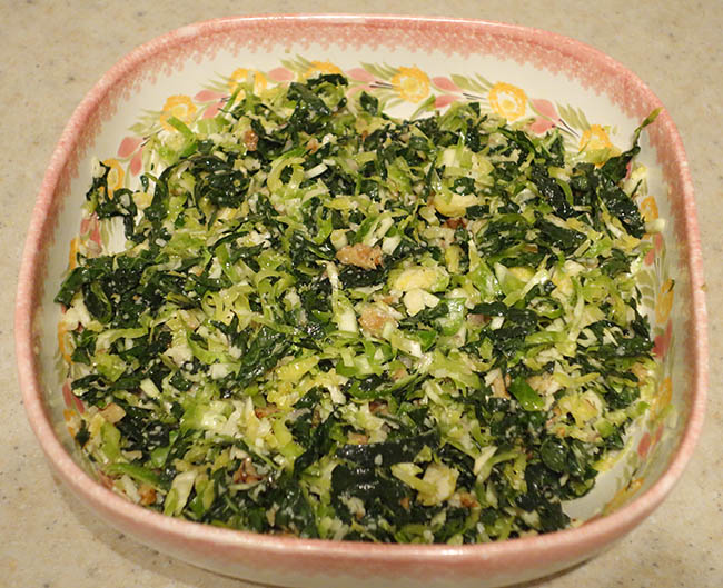 Kale and brussels sprout salad with walnuts, parmesan and lemon-mustard dressing